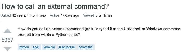 Stack Overflow 热帖:如何用 Python 调用外部命令